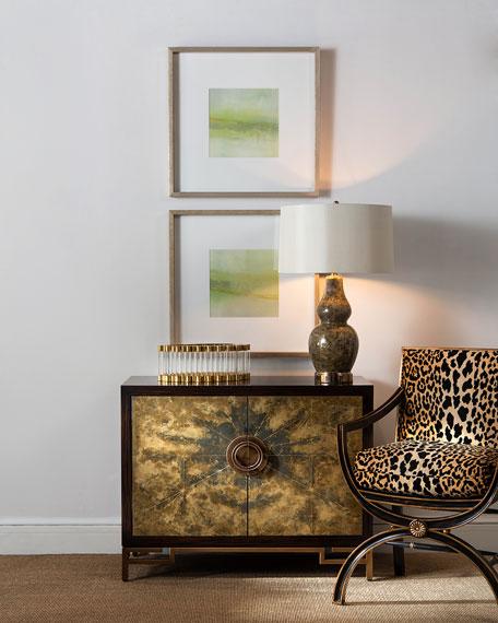 Macayla Mirrored Leopard-Print Armchair