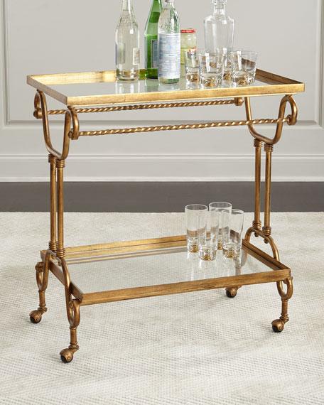 amy gold leaf serving cart. Black Bedroom Furniture Sets. Home Design Ideas