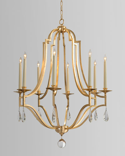 Gold Leaf & Crystal 8-Light Chandelier