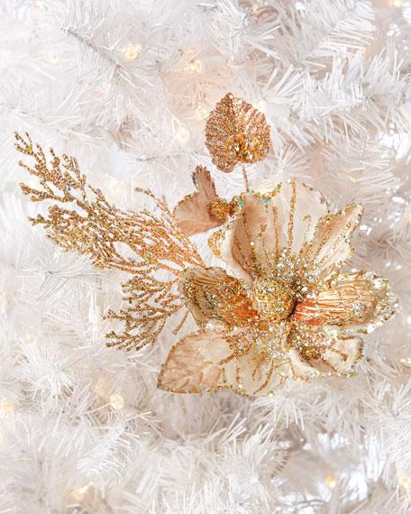 Encrusted Magnolia Clip Ornament