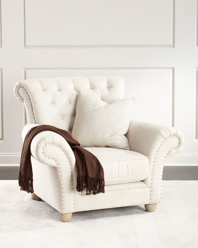Dorothy Tufted-Back Chair, Ivory