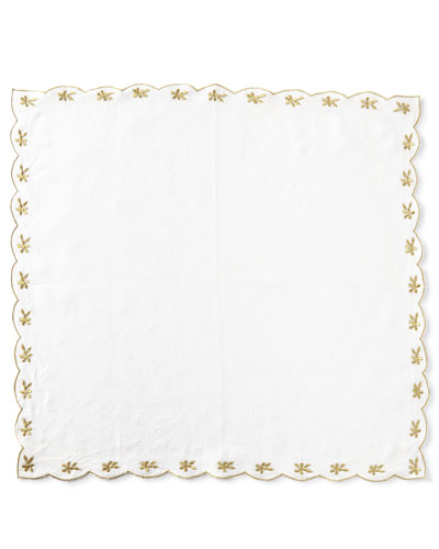 Flower-Embroidered Linen Napkin  Gold