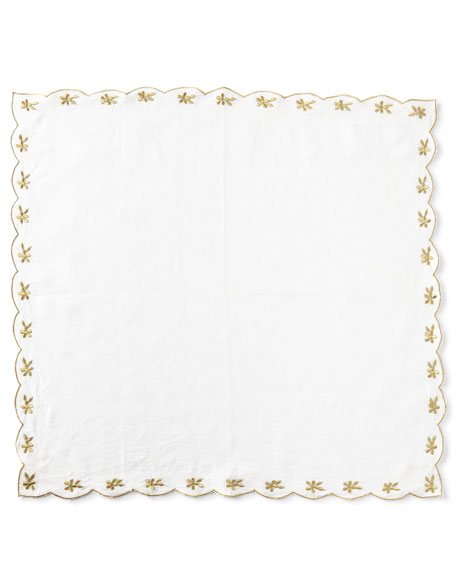 Flower-Embroidered Linen Napkin, Gold
