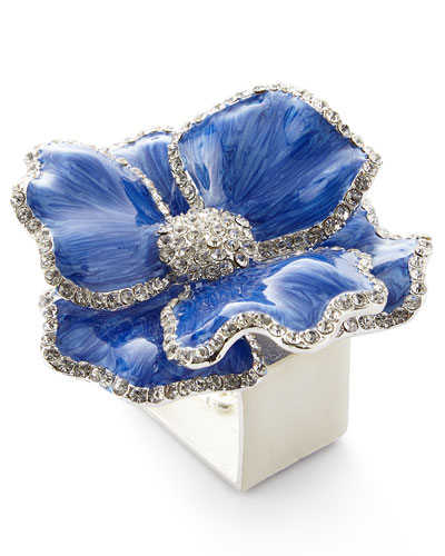 Floral Crystal Napkin Rings  Set of Four  Blue