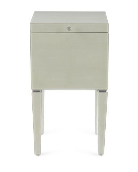 Faux-Shagreen File Box, White