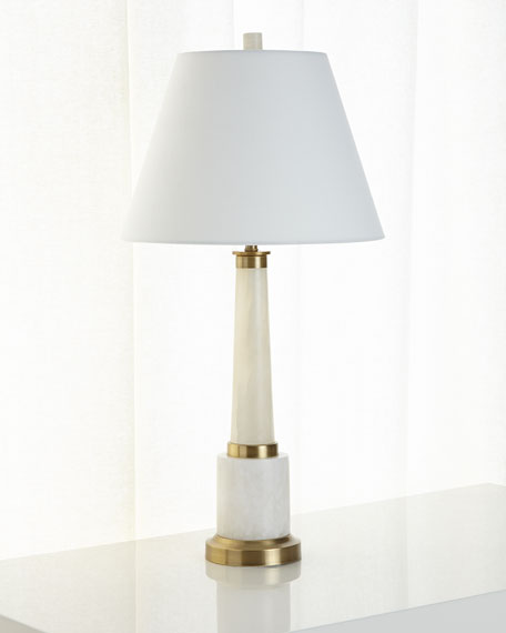 Alabaster and Brass Table Lamp