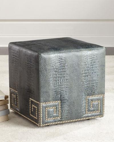 Chantal Leather Ottoman  Blue