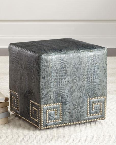 Chantal Leather Ottoman, Blue