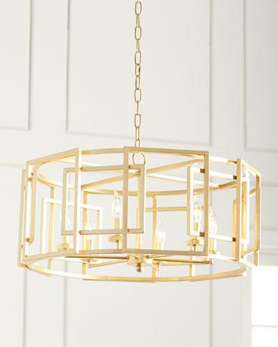 Gold leaf square motif drum chandelier