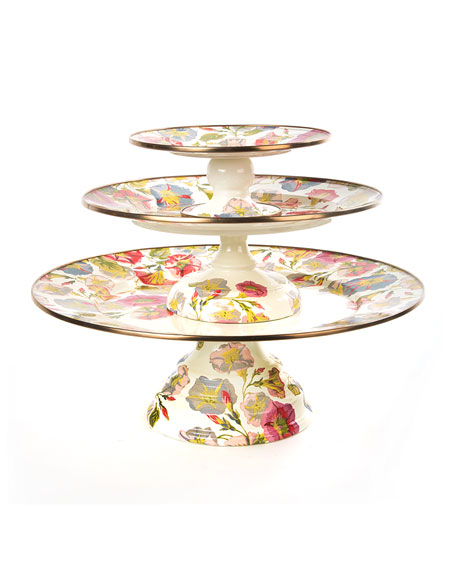 Large Morning Glory Pedestal Platter