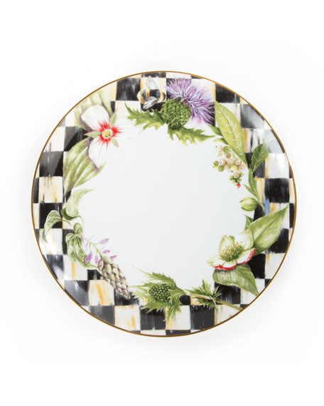 MacKenzie-Childs Garland Thistle & Bee Dinner Plate