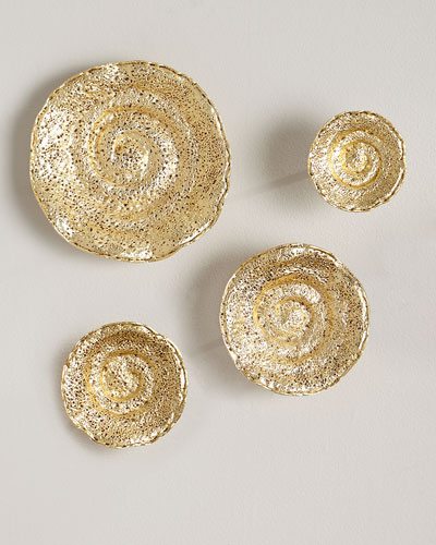Gold Leaf Escargot Wall Hangings  Set of 4
