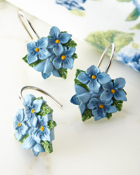 Blue Flower Garden Shower Curtain Hooks, Set of