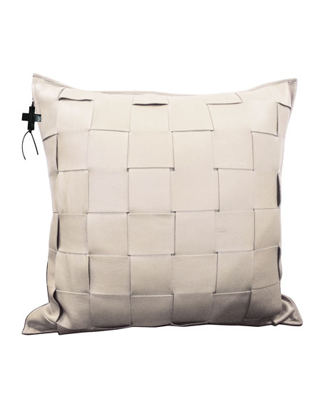 Cream Trenza Woven Leather Pillow