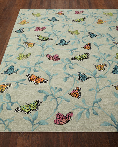 "Butterfly Blossom Indoor/Outdoor Rug, 7'6"" x 9'6"""
