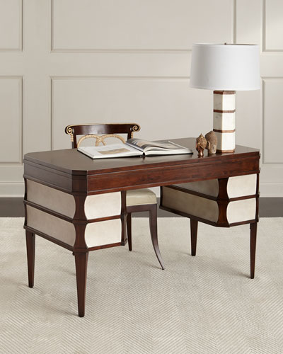 Rosie Writing Desk, Brown/White