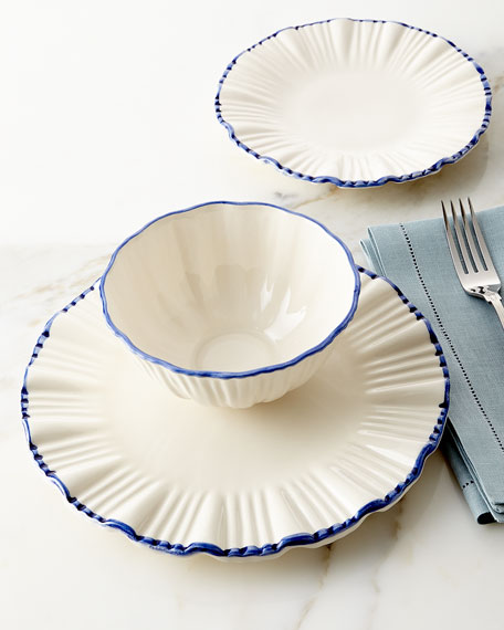 12 Piece Blue Rim Fluted Dinnerware Service