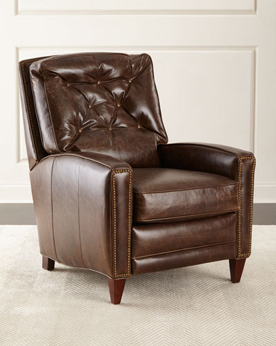 Hudson Tufted Leather Recliner, Brown