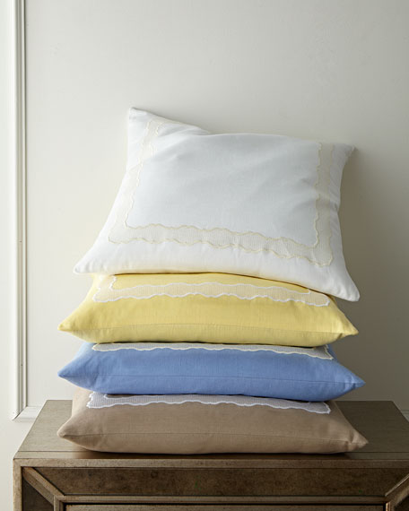 "Embroidered Linen Pillow, 22""Sq."