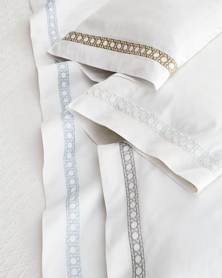 King 4-Piece Cane-Embroidered 400 Thread-Count Sheet Set