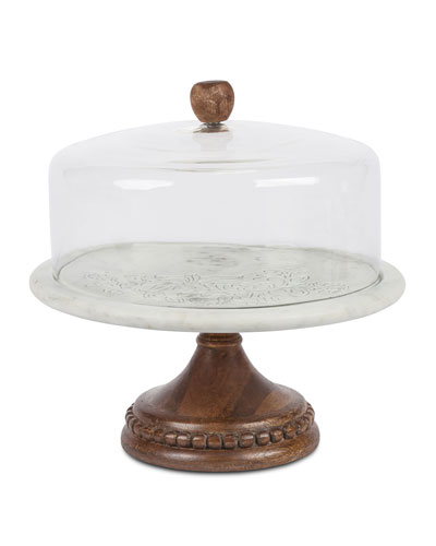 Marble, Wood & Glass Cake Pedestal