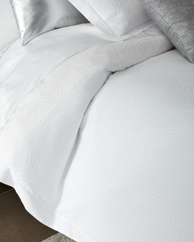 King Winter White Scroll Duvet Cover