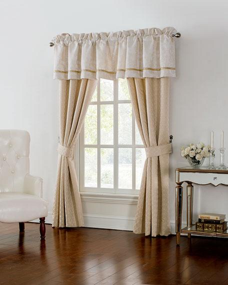 """Two Britt Foulard Curtains, 84""""L"""
