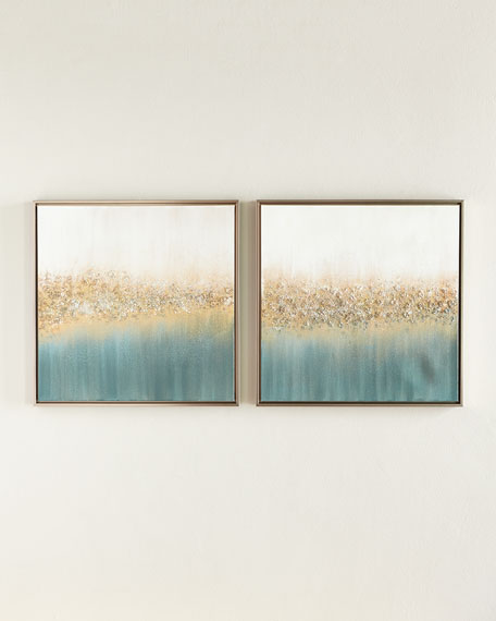 Golden Fog Original Painting, Set of 2