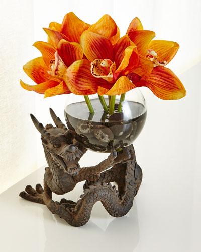 Orchid Cymbidium Faux-Floral Arrangement in Dragon Vase, Orange