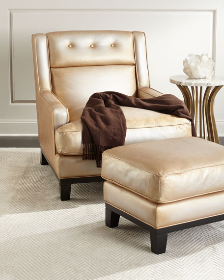 Quinn Metallic Leather Ottoman