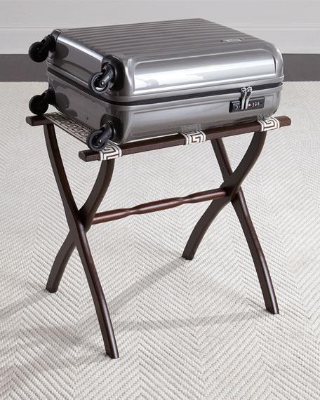 Luggage Rack with Greek Key Detailing, Chocolate