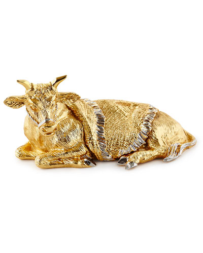 Gilded Nativity Ox Figurine