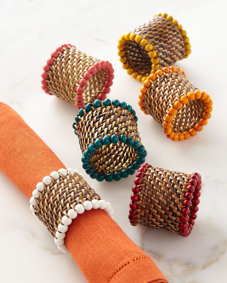 Calaisio Four Bead-Rimmed Napkin Rings