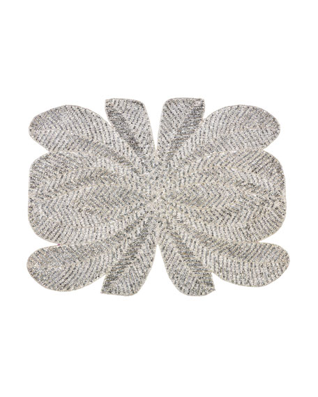 Peacock Hand-Beaded Placemat, Silver