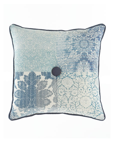 "Mallory Pillow with Button Center, 20""Sq."
