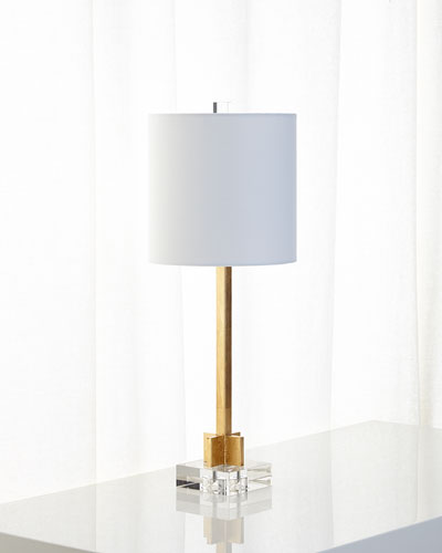 Great Abita Gold Leaf Lamp With Linen Shade And Crystal Base