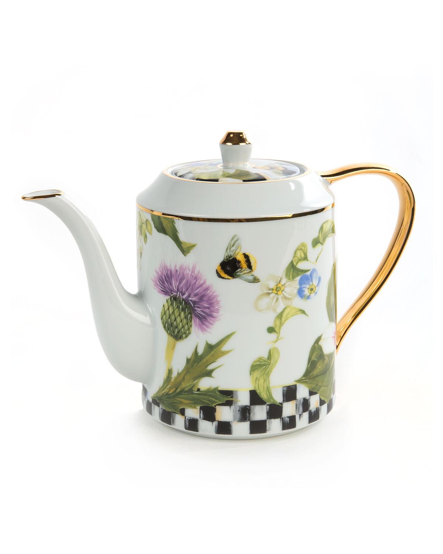 Mackenzie Childs Thistle Amp Bee Teapot