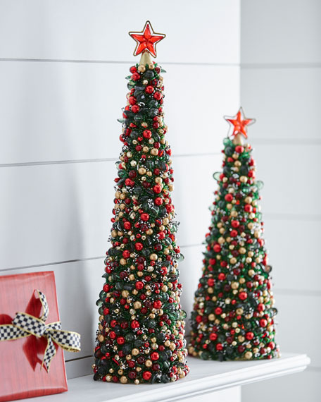"Tartan Frost Beaded Christmas Tree, 24""T"