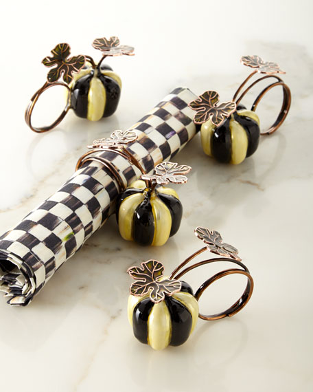 Courtly Stripe Pumpkin Napkin Rings