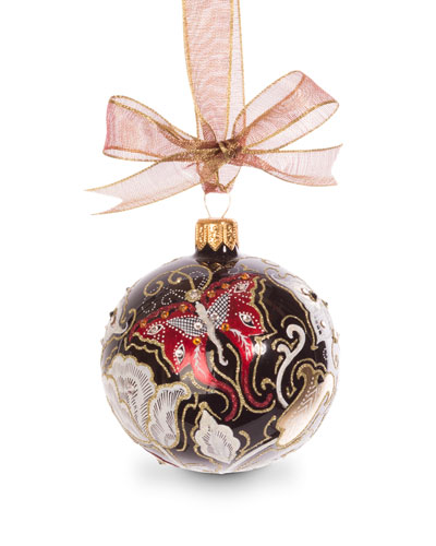 Butterfly Nouveau Artisan Ornament, Black