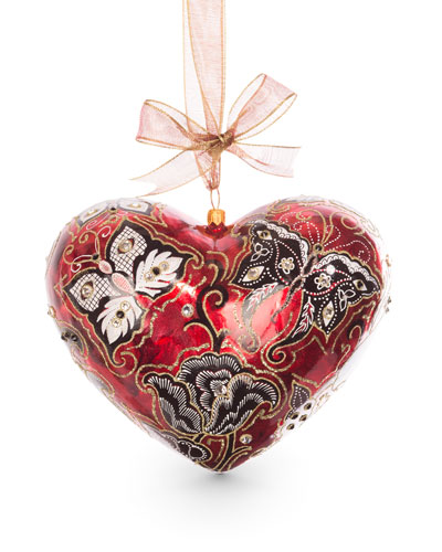 Butterfly Nouveau Artisan Heart Ornament