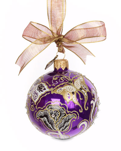 Butterfly Nouveau Artisan Ornament, Purple