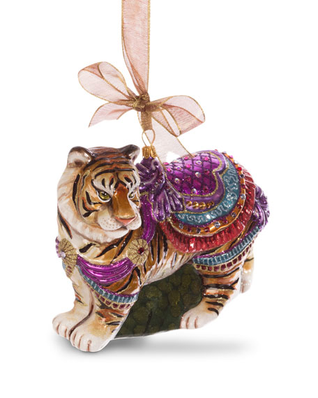 Tiger Rug Ri: Jay Strongwater Carousel Tiger Ornament