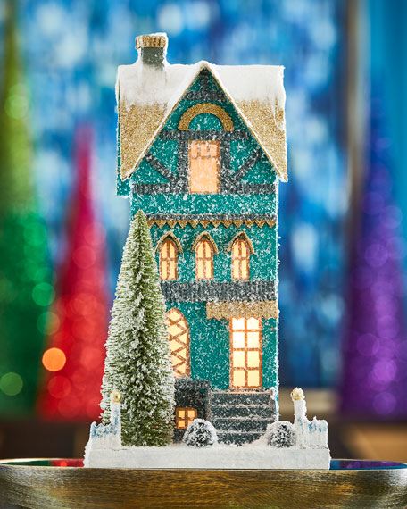 Cody Foster & Co Teal Townhouse Christmas Decoration