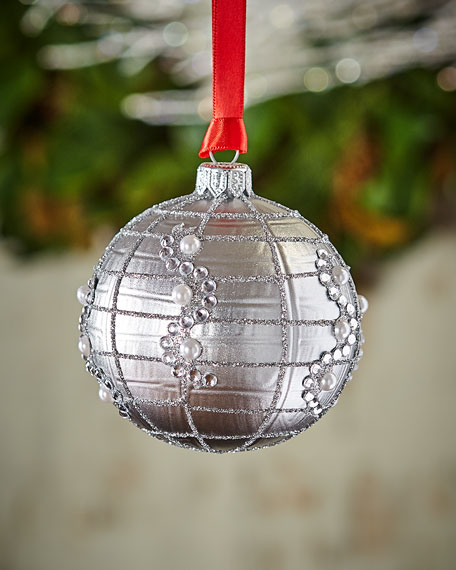 Gold & Glitter Collection Matte Silvery Glitter & Bead Ornament