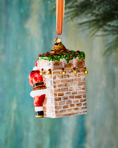 Red & Green Collection Santa with Fireplace Christmas Ornament
