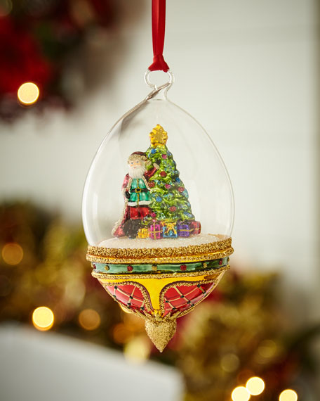 Red & Green Collection Santa with Tree in Globe Ornament