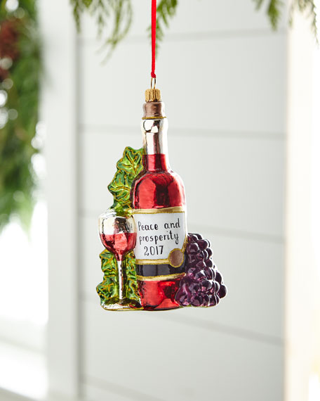 Wine with Grapes/Peace & Prosperity 2018 Ornament
