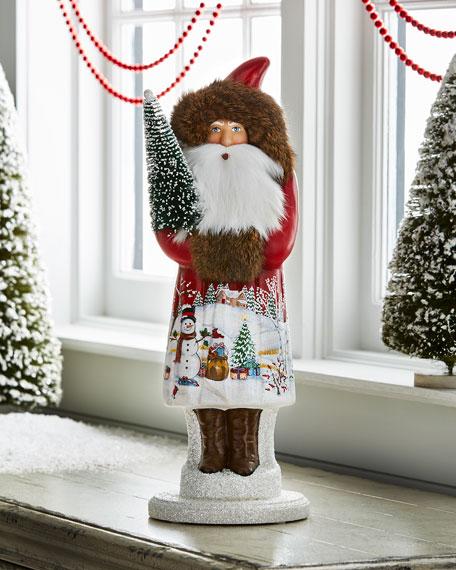 Santa with Snowman Scene Collectible