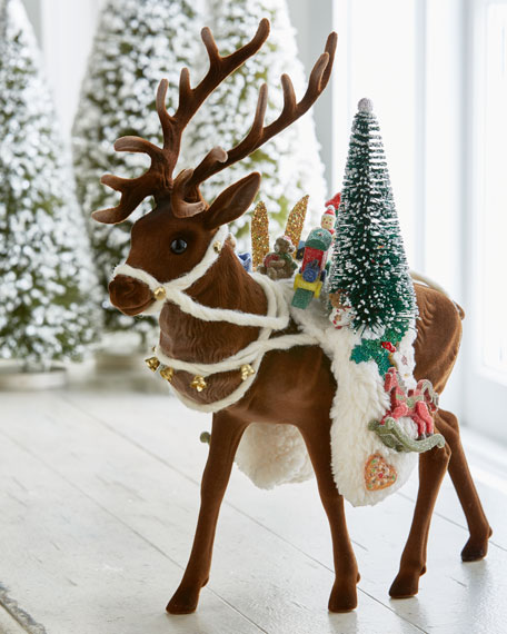Flocked Brown Reindeer with Toys Collectible